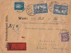 DR Wertbrief Mif Minr.343,2x 365,415 Köln 26.7.29 Gel. Nach Frankreich - Briefe U. Dokumente