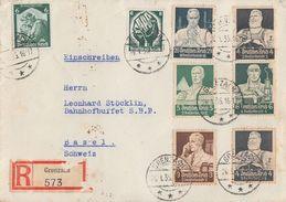 DR R-Brief Mif Minr.544,556,557,558,562,Zdr.S219,566 Grenzach 26.1.35 Gel. In Schweiz - Briefe U. Dokumente