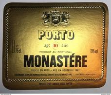 Rotulo Vinho Do Porto MONASTERE 10 Anos, Envelhecido Em Barris. Engarrafado 1982. CªG:Agricultura Alto Douro PORTUGAL - Labels