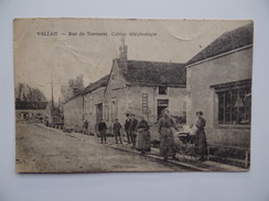89 VALLAN Rue De TOURNANT Cabine Téléphonique Animée Famille Poussette - France