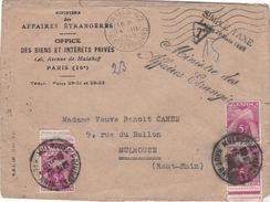 Lettre 1949 / Ministère Affaires Etrangères / Paris / Mme Vve Cahen Mulhouse 68 / Taxe - Strafport