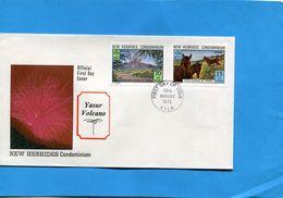 Nouvelles Hébrides-enveloppes Illustrées FDC-FR&GB-N°-volcan Et Chevaux Sauvages370-3- - FDC