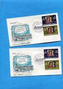 Nouvelles Hébrides-enveloppes Illustrées FDC--1972-FR&GB-N°354-7 Noces D'argent Royales - FDC