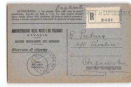 B1087 MONTE DI CAPODISTRIA - NOTIFICAZIONE ATTI GIUDIZIARI - Storia Postale