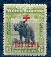North Borneo 1918  Surcharged Rhinoceros Fauna   MH*VF - Rhinozerosse