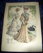 Stampa Litografia D' Epoca Originale - Moda Abiti Donna B44 - 1900 Ca - Stampe & Incisioni