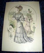 Stampa Litografia D' Epoca Originale - Moda Abiti Donna B40 - 1900 Ca - Stampe & Incisioni