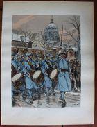 Stampa Litografia - Le Uniformi Dell'esercito Francese 1935 - Fanteria Blu N 18 - Stampe & Incisioni