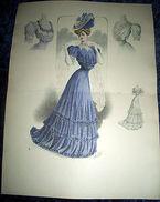 Stampa Litografia D' Epoca Originale - Moda Abiti Donna C19 - 1900 Ca - Stampe & Incisioni