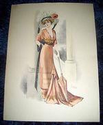 Stampa Litografia D' Epoca Originale - Moda Abiti Donna B15 - 1900 Ca - Stampe & Incisioni