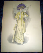 Stampa Litografia D' Epoca Originale - Moda Abiti Donna B12 - 1900 Ca - Stampe & Incisioni