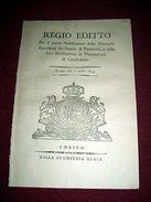 Regno Sardegna Savoia Torino Regio Editto Elenco Provincie Senato Piemonte 1814 - Old Paper
