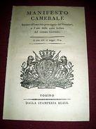 Regno Di Sardegna Torino Manifesto Camerale Uso Carta Bollata Ex Governo 1814 - Old Paper
