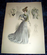 Stampa Litografia D' Epoca Originale - Moda Abiti Donna  B104 - 1900 Ca - Stampe & Incisioni