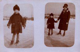 Carte Photo Originale Double Vue - Hiver & Ses Lacs Gelés Pour Patinage En Patin à Glace Mère-Fille Un 15.03.1928 - Anonymous Persons