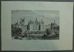 Stampa Incisione '800 Francia - Castello Di Chambord - K. Girardet E Whitehead - Estampes & Gravures