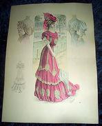 Stampa Litografia D' Epoca Originale - Moda Abiti Donna C72 - 1900 Ca - Stampe & Incisioni