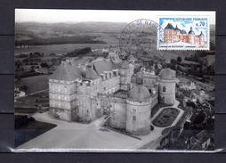 """FRANCE 1969 : """" CHATEAU DE HAUTEFORT """" Sur Carte Maximum Souple. N° YT 1596. Parfait état. CM - Schlösser U. Burgen"""