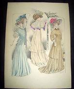 Stampa Litografia D' Epoca Originale - Moda Abiti Donna B05 - 1900 Ca - Stampe & Incisioni