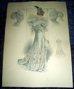Stampa Litografia D' Epoca Originale - Moda Abiti Donna C60 - 1900 Ca - Stampe & Incisioni