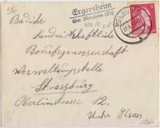 Lettre De Ergersheim (Tampon 324/2) Sur TP Reich (12pf = 1° éch.) Le 22/1/42 Pour Strasbourg + Cachet Molsheim A - Marcophilie (Lettres)