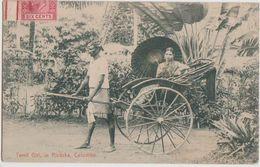 CPA SRI LANKA CEYLON CEYLAN COLOMBO Tamil Ricksha Timbre Stamp 1907 - Sri Lanka (Ceylon)