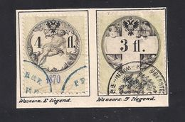 2 Austria Revenue 3 + 4 Fl. 1870 Ultramarinblau - Mit WASSERZEICHEN - Steuermarken