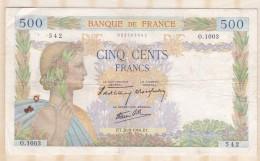 Billet 500 Francs La Paix Du 26 - 9 - 1940 . Alph. O.1003 N° 542 - 1871-1952 Anciens Francs Circulés Au XXème