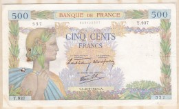 Billet 500 Francs La Paix Du 26 - 9 - 1940 . Alph. Y.937 N° 557 - 1871-1952 Anciens Francs Circulés Au XXème