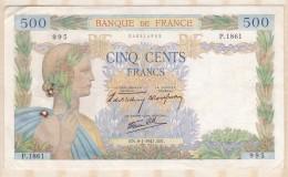 Billet 500 Francs La Paix Du 9 - 1 - 1941 . Alph. P.1861 N° 995 - 1871-1952 Anciens Francs Circulés Au XXème