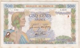 Billet 500 Francs La Paix Du 26 - 6 - 1941 . Alph. G.3246  N° 162 - 500 F 1940-1944 ''La Paix''