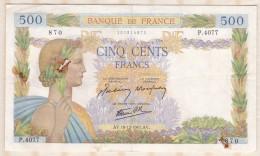 Billet 500 Francs La Paix Du 18 - 12 - 1941 . Alph. P.4077  N° 870 - 1871-1952 Anciens Francs Circulés Au XXème