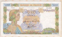 Billet 500 Francs La Paix Du  2 - 1 - 1942 . Alph. D.4248 N° 735 - 1871-1952 Antichi Franchi Circolanti Nel XX Secolo