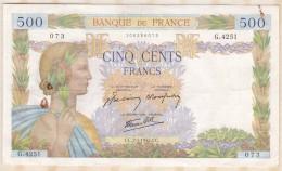 Billet 500 Francs La Paix Du  2 - 1 - 1942 . Alph. G.4251 N° 073 - 1871-1952 Anciens Francs Circulés Au XXème