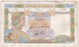 Billet 500 Francs La Paix Du  12 - 2 - 1942 . Alph. V.4770 N° 737 - 1871-1952 Gedurende De XXste In Omloop