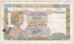 Billet 500 Francs La Paix Du  1 - 10 - 1942 . Alph. D.7080 N° 016 - 500 F 1940-1944 ''La Paix''