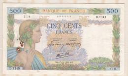 Billet 500 Francs La Paix Du  15 - 10 - 1942 . Alph. D.7345 N° 218 - 1871-1952 Anciens Francs Circulés Au XXème