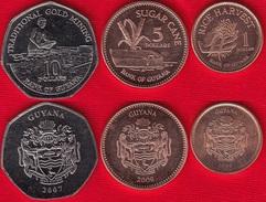 Guyana Set Of 3 Coins: 1 - 10 Dollars 1996-2008 UNC - Guyana
