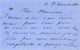 VP11.752 - Noblesse - CLAS - Carte - Lettre De Mme La Contesse F. STACKELBERG - Autographs