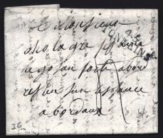 LETTRE PRECURSEUR FRANCE- MARQUE POSTALE : 45- TONNEINS  -  DE 1827 - TAXE  4 DECIMES- - Marcophilie (Lettres)
