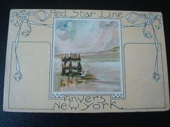 RED STAR LINE : ANVERS - NEW YORK Par V. CRETEN - LOT DE 4 CARTES Numérotées De 1 à 4 En 1911 - Steamers