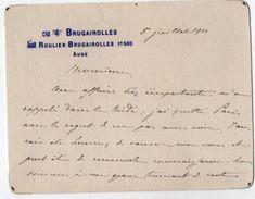 VP11.754 - Noblesse - CLAS - Carte - Lettre De Mr Le Comte De TOULZA à ROULIER - BRUGAIROLLES ( Aude ) - Autographs