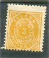 1882 ISLANDE  Y & T N° 12B ( O ) 3a  Neuf Sans Gomme - Oblitérés