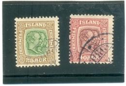 1907 ISLANDE Y & T N° 56 - 57 ( O ) 25a 40a - Oblitérés