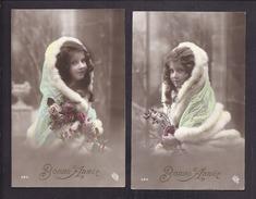 Lot De 2 CPA Enfant Fillette Coiffée Anglaise Et Habillée Dans étole De Fourrure - Pretty Girl - Photo - Portraits