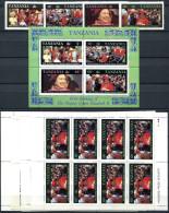 TANZANIA 1987 Queen Anniv. - Sc.333-336 Compl. + Block + 4 Sheets (compl.) All MNH (VF) - Tansania (1964-...)