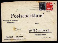 A5010) Kontrollrat Postscheckbrief Von Würzburg 15.12.47 Nach Nürnberg - Gemeinschaftsausgaben