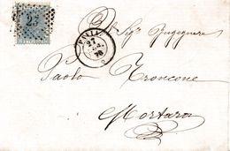 """R179 - Involucro Del 1870 Da Pavia A Mortara (PV) Con Cent. 20 Azzurro Annullo Numerale A Punti """"23"""" - Storia Postale"""