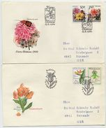 CZECHOSLOVAKIA 1980 Floral Exhibition On 2 FDCs.  Michel 2574-77 - FDC