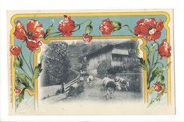 18432 - Vaches S'en Allant Du Chalet Sur Fond De Pavots - Kühe